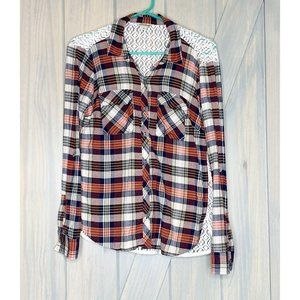 Lucky Brand Plaid Flannel and Lace Button Down